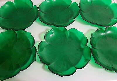 6 Lot Emerald Green Glass 8.5  Flower Plates Mikasa Handcrafted Japan • 28.40£