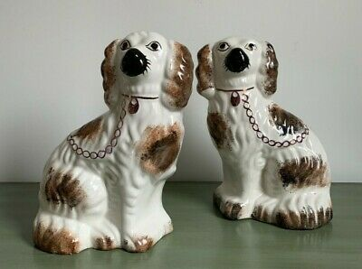 Two Antique Staffordshire Dogs Flat-backed Wally Dogs Spaniels 9  Vgc • 48£