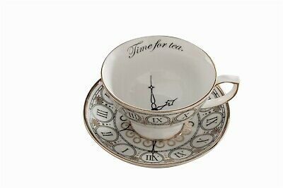 Victorian Trading Co Time For Tea Cup & Saucer White Gold • 29.43£