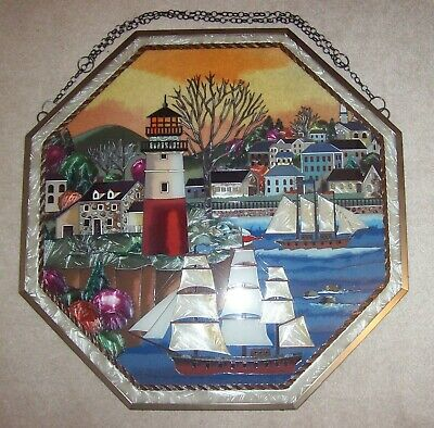 Beautiful Hexagonal American Stained Glass Window PIcture • 70£