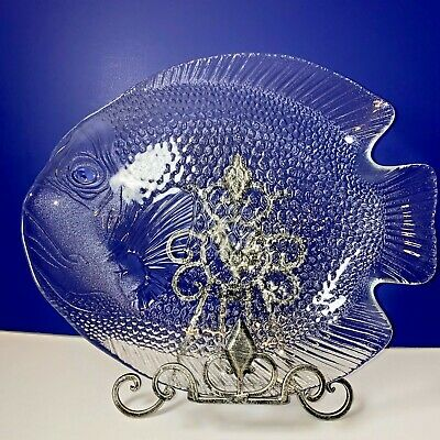 ARCOROC FISH SHAPED PLATTER Large Clear Glass 15  X 12  Poisson Tray FRANCE • 11.20£