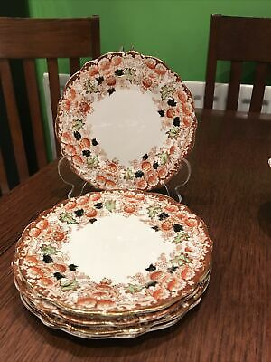 Antique Victorian Queens China G.W & Sons Side Plates X 5 Rust & Gilt Pattern • 9.95£