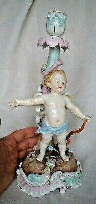 Very Large Antique German Meissen Marked Porcelain Candlestick  • 90£