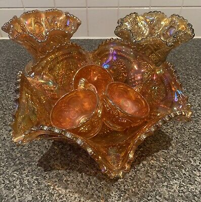 Carnival Glass Punchbowl, Cups & Small Bowls • 22£