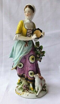 ANTIQUE PORCELAIN FIGURE Of A SHEPHERDESS With SHEEP & TAMBOURINE • 45£