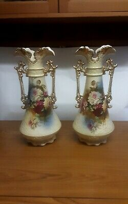 Large Pair Of Antique Victorian Or Edwardian Ceramic Vases • 35£