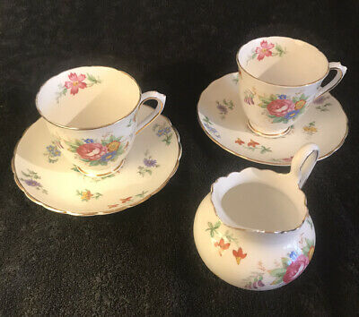 Beautiful Milk Jug And Two Tea Cups + Saucers In Tuscan Fine Bone China Bouquet • 2.20£