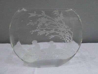 Orrefors Round Vase With Etched Design By Edvin Ohrstrom Swedish Glass • 45£