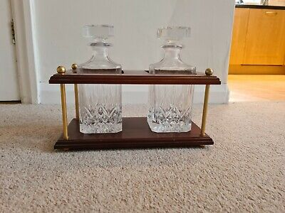 Pair Of Square Shaped Cut Patterned Spirit Decanters - In Wooden Holder • 10£