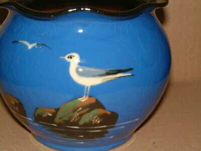 Vintage Barton Pottery Torquay Ware Fluted Edged Vase With Seagull Design • 14.99£
