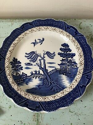 """2x Vintage Booths Real Old Willow Gilded 10"""" Dinner Plates • 5£"""