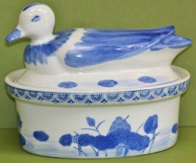 """Blue & White Oval Dish With """"duck"""" Lid • 12.99£"""