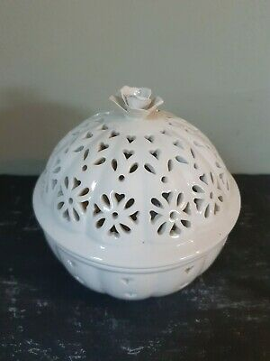 Large Authentic Leedsware Creamware Pierced Box And Lid • 8.50£