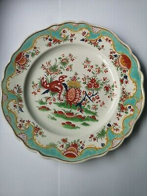 Antique Large Hand Painted Chamberlains Worcester Porcelain Plate • 27.50£