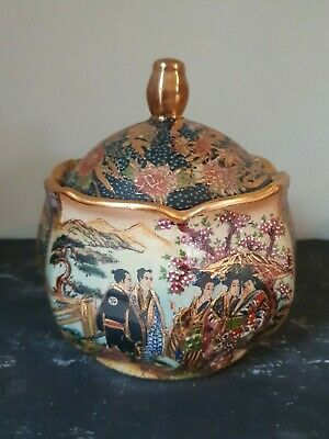 Large Vintage Royal Satsuma Hand-painted Bowl/Pot With Lid A/F • 20£