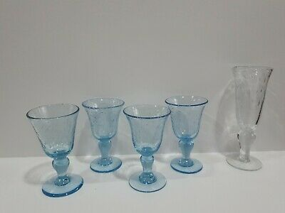 Vintage French BIOT Hand Blown Blue Bubble Glass - Glasses X 4 (4) + Free Glass  • 32£