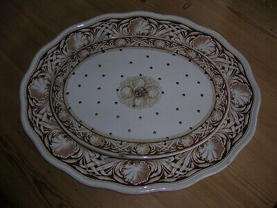 17 3/4  Aesthetic Brown Westhead Moore Meat Plate And Drainer  Bulrush  1868 • 90£