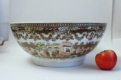 Large Antique Early 19th Century Pearlware Porcelain Chinoiserie Bowl • 9.99£