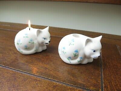 Vintage Pair Of Ceramic Cat Candle Holders - Secla Pottery Portugal • 20£