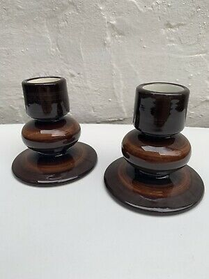 Pair Of Jersey Pottery Candle Holders Brown Highlight Glaze Vintage Pottery • 8£