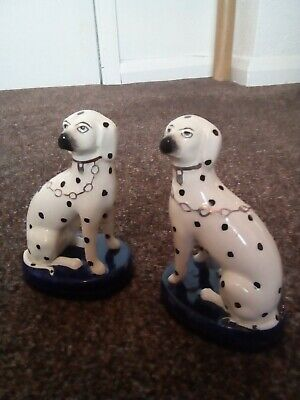 A Pair Of Vintage Staffordshire Pottery Dalmatian Dogs Figurines • 45£