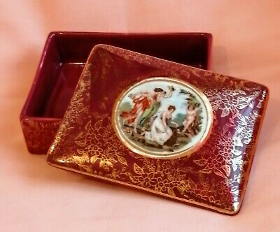 A Beautiful Antique English Porcelain 'old Vienna Style' Trinket Pot • 23£