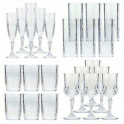Vintage Clear Crystal Effect Plastic Glasses Set Drinking Picnic Garden Acrylic • 8.95£