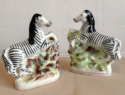 Fine Rare Pair Of Mid Victorian Staffordshire Rearing Zebras 1860 Good Condition • 120£