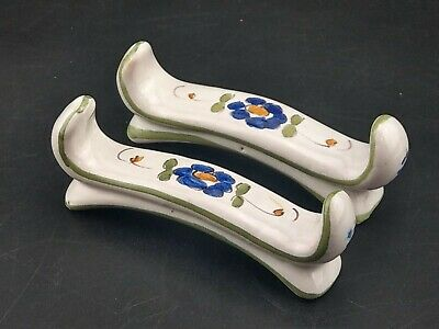 Vintage French Dr Moustiers Fait Main Faience Knife Rests • 35£