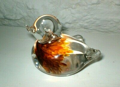Vtg Lovely Langham Clear Crystal Glass  Duck  Paperweight-  Amber Feather Detail • 15£