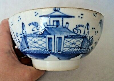 18TH CENTURY C1780 ENGLISH LIVERPOOL? BLUE & WHITE PAGODA PEARLWARE PUNCH BOWL  • 60£