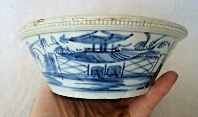 18TH CENTURY C1780 ENGLISH LIVERPOOL? BLUE & WHITE PAGODA PEARLWARE SLOP BOWL • 80£