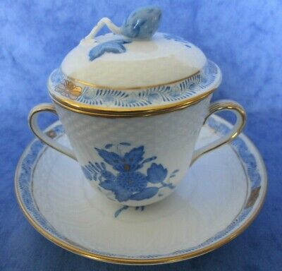 Herend Blue Chinese Bouquet Chocolate Cup With Lid & Saucer • 85£
