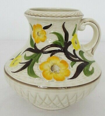 H J Wood England JACOBEAN HAND PAINTED JUG -with Yellow Flowers • 20£