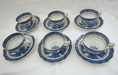6 X BOOTHS REAL OLD WILLOW CHINA CUPS & SAUCERS A 8025 6  DIAMETER SAUCER • 60£