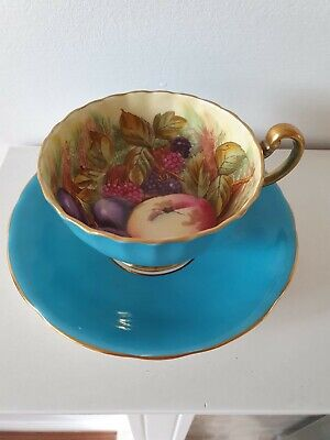 Vintage Aynsley Fruit Cup And Saucer Teal • 69£