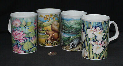 4 X Fine Bone China : Made In England Mugs : Badger Squirrel Iris Lilly • 7£