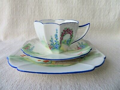 Art Deco Shelley Queen Anne Archway Of Roses Pattern Trio 11606 2 Of 4 • 48£