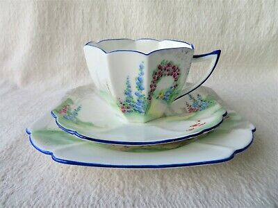 Art Deco Shelley Queen Anne Archway Of Roses Pattern Trio 11606 3 Of 4 • 48£