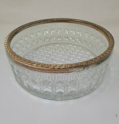 Vintage Crystal Bowl With Silver Plated Rim • 15.90£