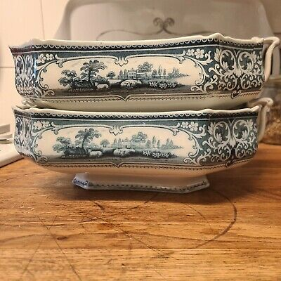 VERONA BURSLEM Stylish Pair Of Blue & White Vtg Patterned Tureen Handle Dishes   • 9.98£