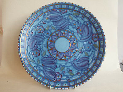 Beautiful Large Art Deco Charlotte Rhead Tubelined Charger In Blue Red & Gold • 195£