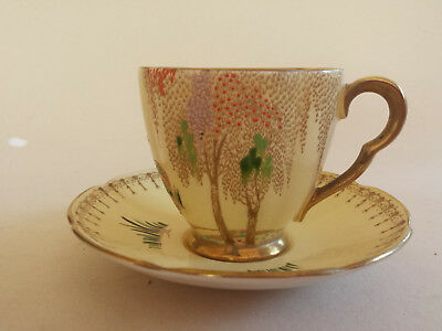 Carlton Ware Yellow Art Deco Lustre 'New Stork' Gilded Coffee Cup +Saucer • 59.99£