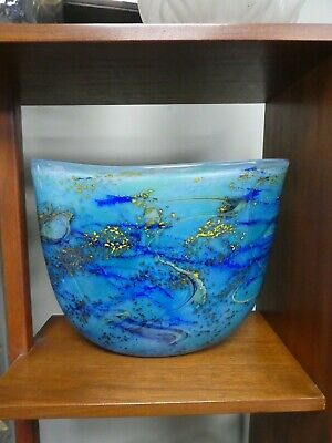 Huge & Spectacular Peter Layton Signed Blue Studio Glass Vase 1996 • 90£