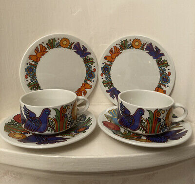 Set Of 2 Villeroy Boch Acapulco Teacups, Saucers And Sm Plates • 12.50£