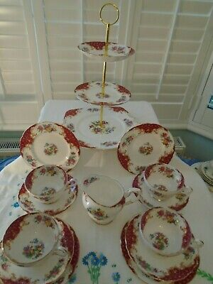 VINTAGE PARAGON RED ROCKINGHAM BONE CHINA TEASET/3 TIERED CAKE STAND C.1952 • 49.99£