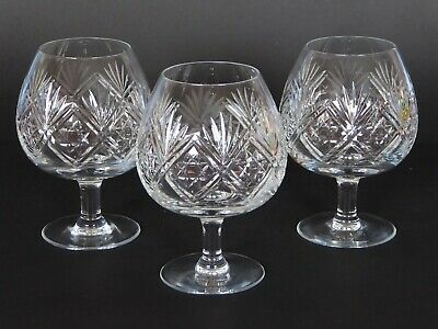 3 X Thomas Webb Crystal St ANDREWS Cut Brandy Balloons Glasses Signed • 50£