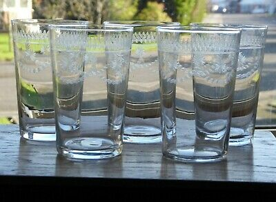 Set Of 5 Antique Acid Etched Glass Tumblers Garlands And Flowers 10 Fluid Ounces • 30£