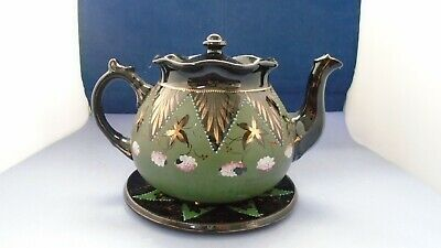 Jackfield? Black & Green Teapot With Gold Gilt And Plate #1144 • 7.50£