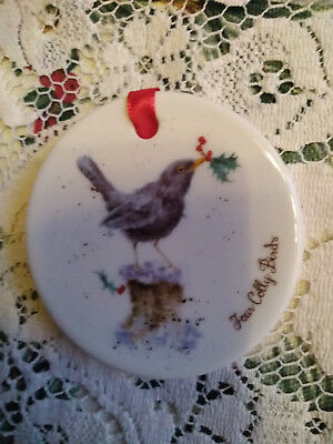 Royal Worcester  Wrendale Xmas Tree Decoration New 12 Days Of Christmas 4.day • 7.99£